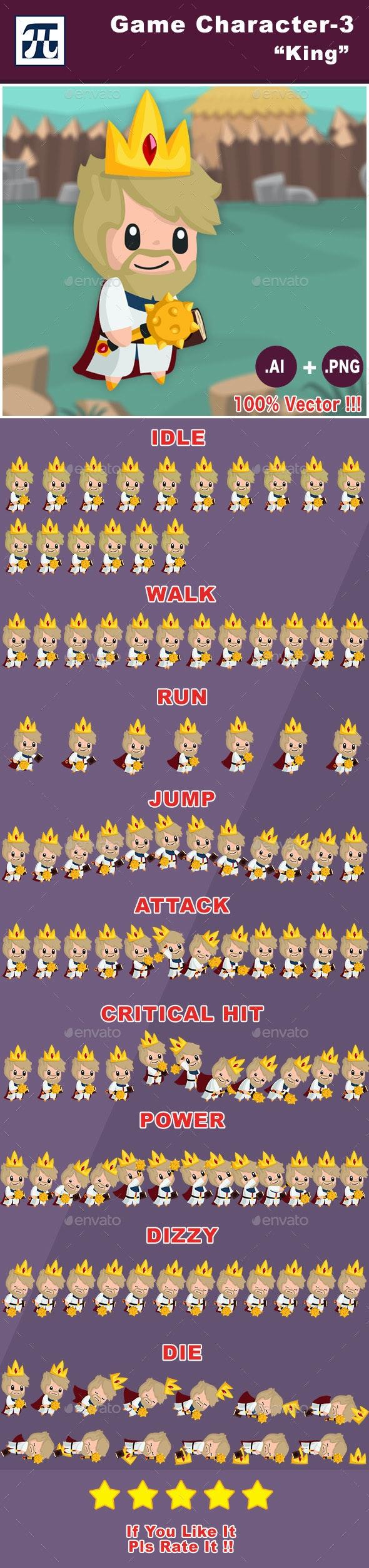 Game Character Set 3 - King - Sprites Game Assets