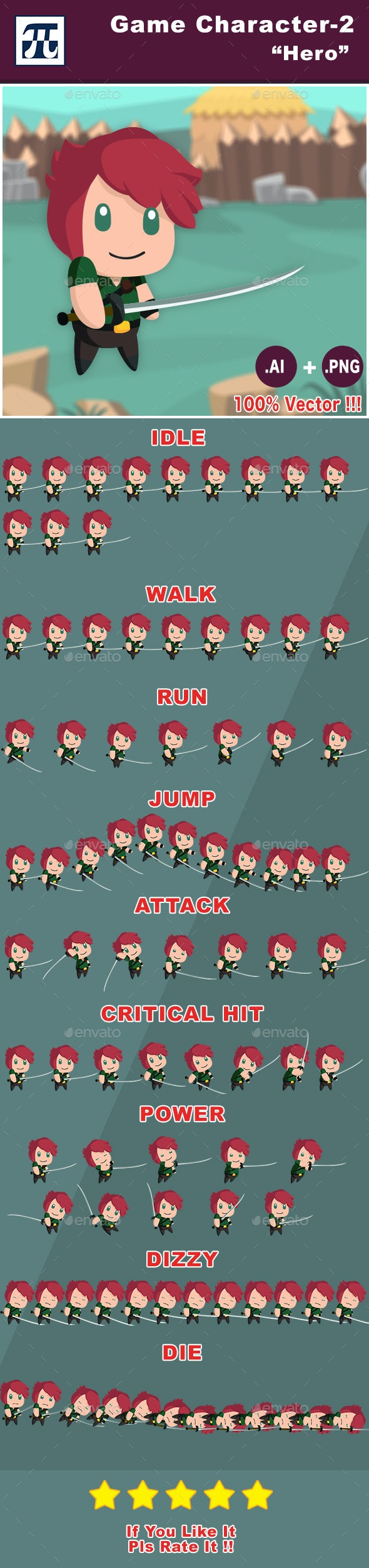 Game Character Set 2 - Hero - Sprites Game Assets