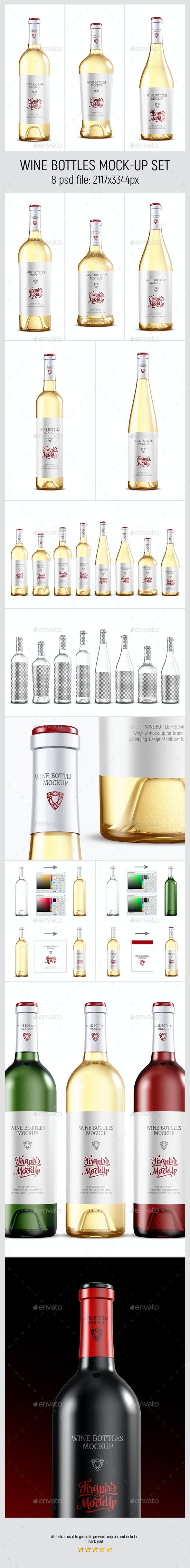 Wine Bottles Mockup Set - Food and Drink Packaging