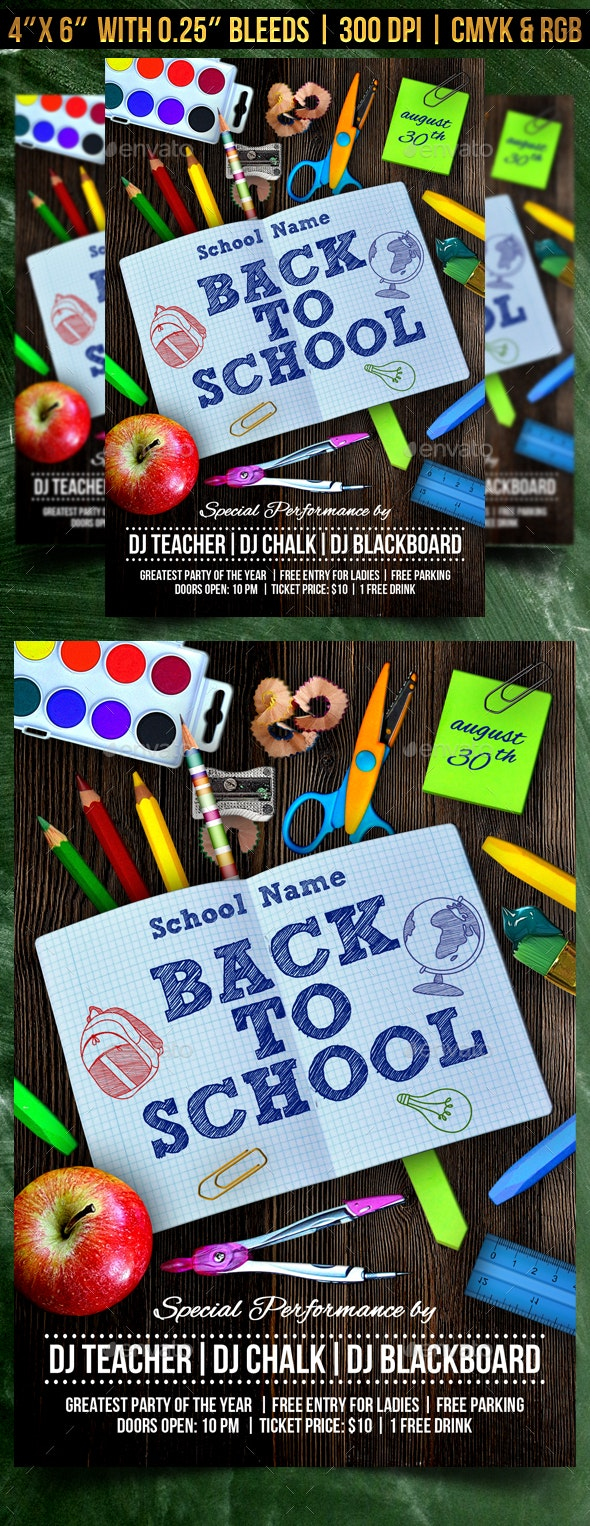 Back to School Flyer Template - Clubs & Parties Events