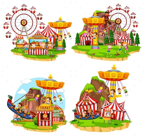 Set Of Various Carnival Scenes - Sports/Activity Conceptual