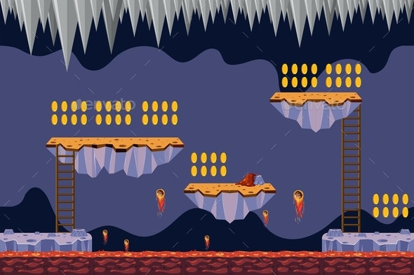 Coin Collecting Game Lava Theme - Landscapes Nature