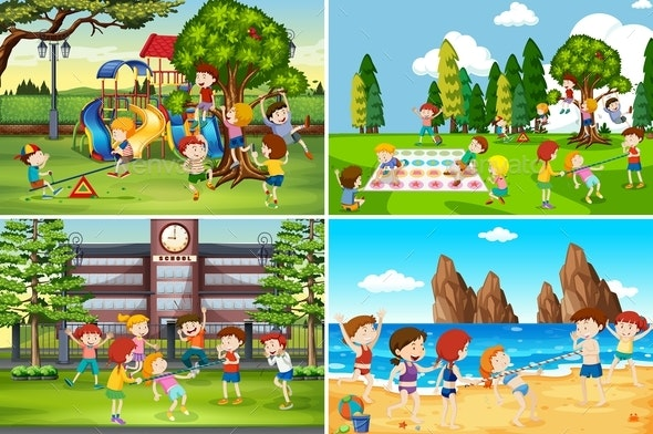 A Set Of Children Playing In Different Location - People Characters