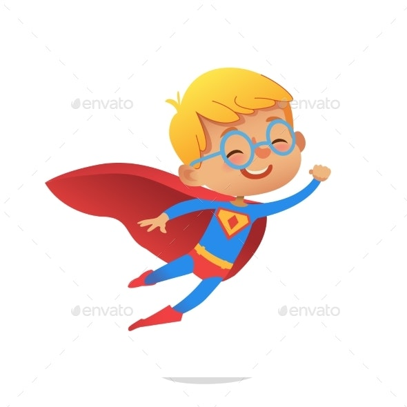 Flying Boy Wearing Colorful Costumes - People Characters