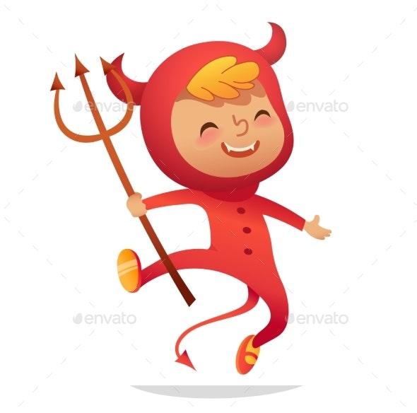 The Boy in a Halloween Devil Costume - Halloween Seasons/Holidays