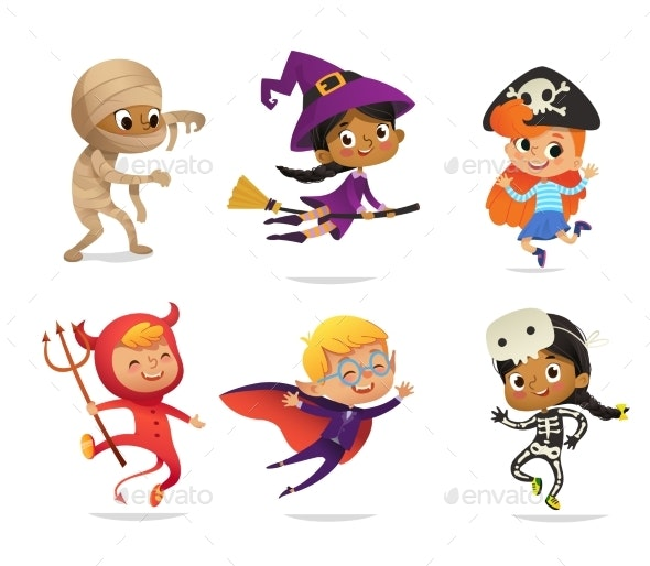 Multiracial Boys and Girls Wearing Halloween Costumes - People Characters