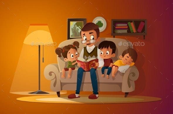 Cozy Family Evening - People Characters