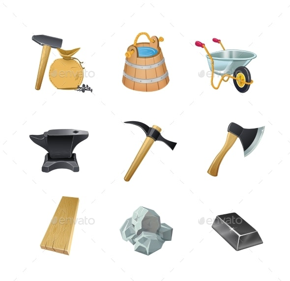 Set of the Game Construction Assets - Industries Business