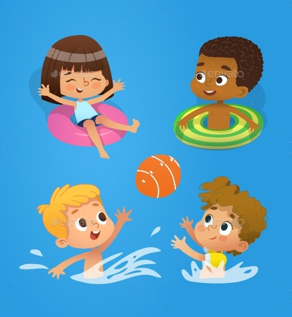 Multiracial Children Have Fun in a Pool - People Characters