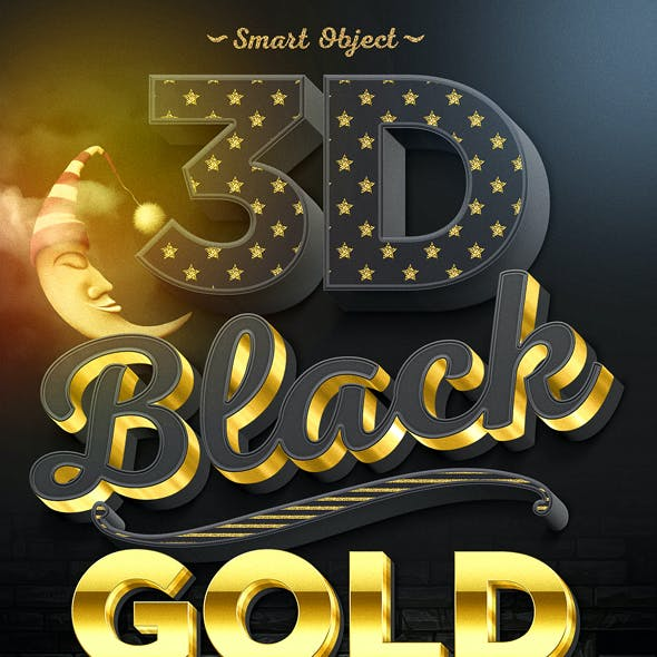 15 3D Black and Gold Text and Logo Mockup