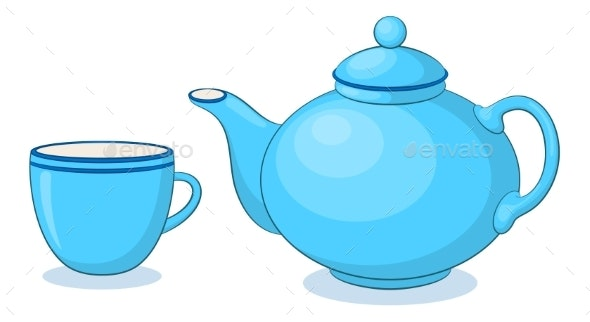 China Teapot and Cup - Food Objects