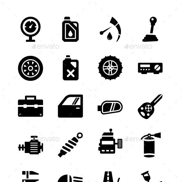 64 Auto Workshop Vector Icons