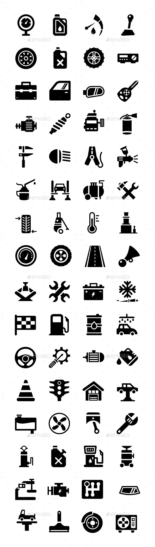 64 Auto Workshop Vector Icons - Icons