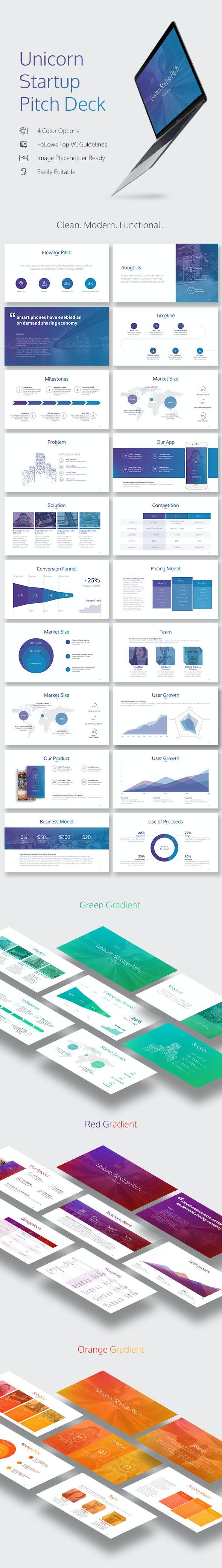 Unicorn Startup Pitch Deck - Pitch Deck PowerPoint Templates
