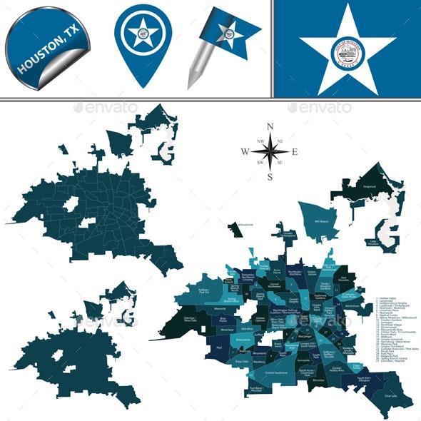 Map of Houston TX with Neighborhoods - Travel Conceptual