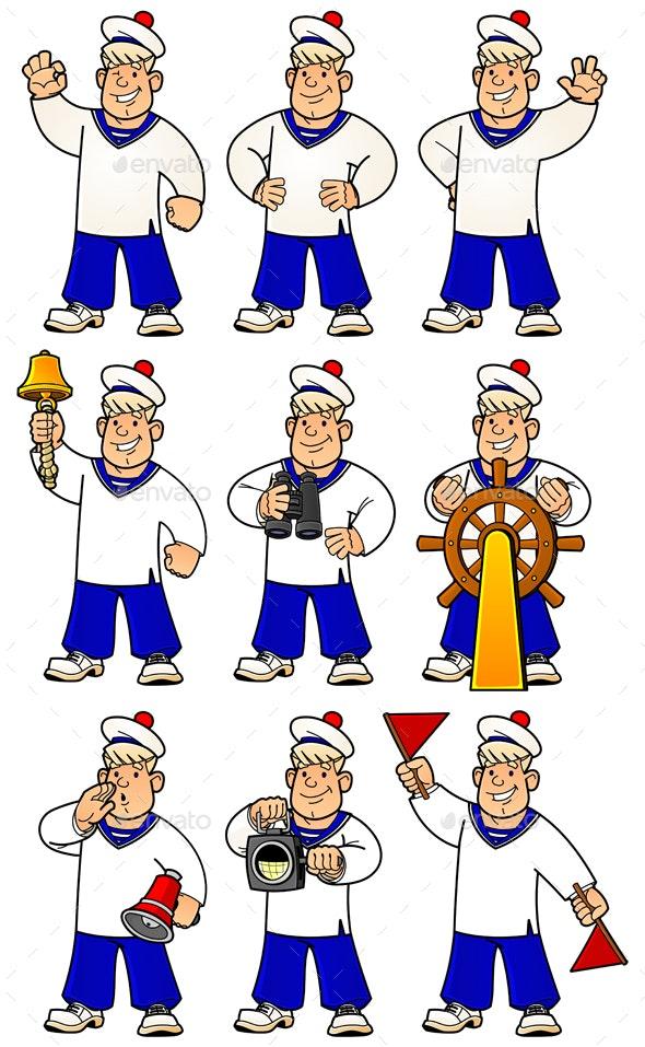 9 Sailors Set of Mascots - People Characters