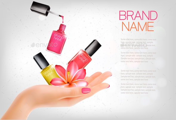Manicured Hands and Several Nail Lacquer Bottles - Retail Commercial / Shopping