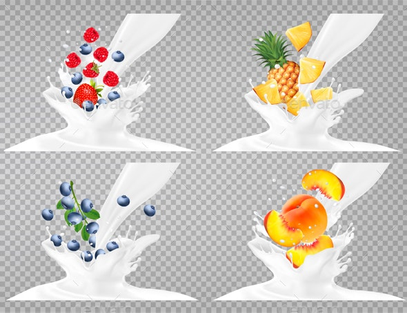 Collection Icons of Fruit in Milk Splash - Food Objects