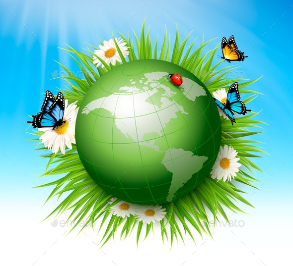 Ecology Concept of Globe And Grass With Flowers - Landscapes Nature