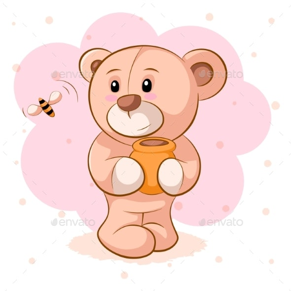 Teddy Bear with a Keg of Honey - Animals Characters