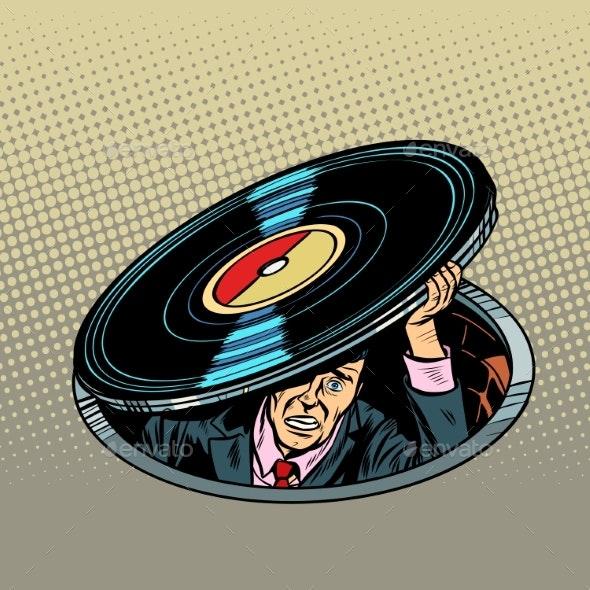 Man Under Vinyl Music and Audio - Miscellaneous Vectors