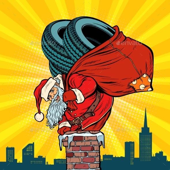 Car Winter Tires Santa Claus with Gifts Climbs - Christmas Seasons/Holidays
