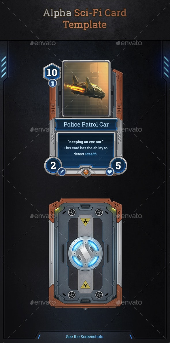 Alpha Sci-Fi Card Template - Miscellaneous Game Assets