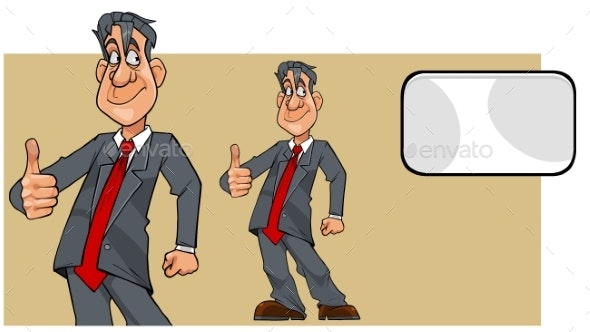 Cartoon Man in a Suit with a Tie Showing Thumbs Up - People Characters