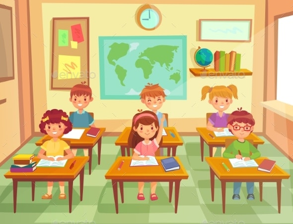 Pupil Kids at Classroom - Miscellaneous Vectors