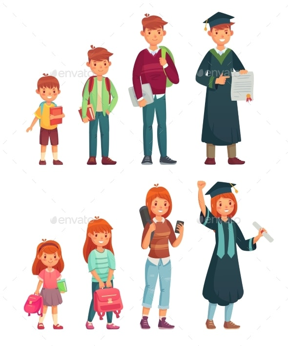 Different Ages of Student - People Characters