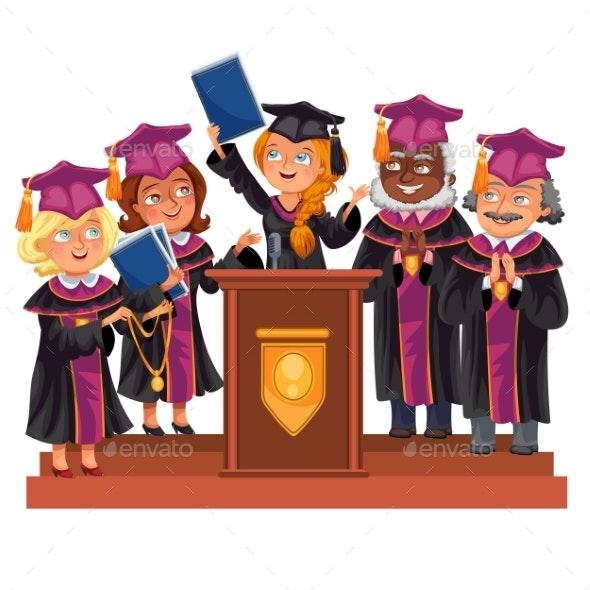 Graduates Celebrate Finishing of Education - People Characters