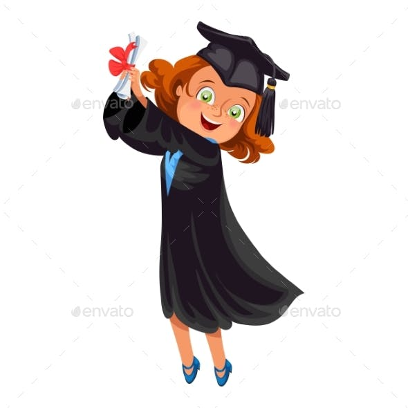 Smiling Girl in Gown with Diploma