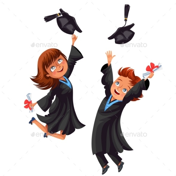 College Students Poster with Happy Graduates - Miscellaneous Vectors