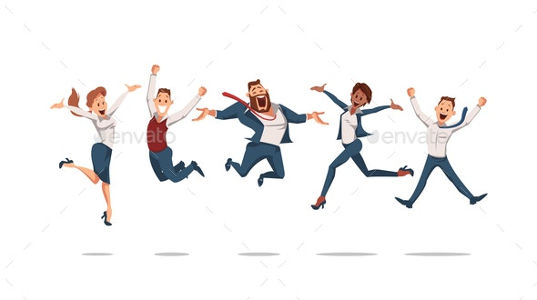 Office Workers Jumping - People Characters