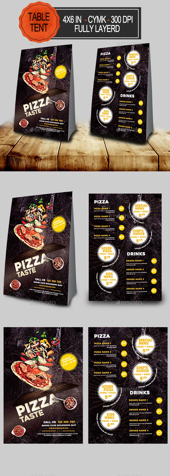 Pizza Menu Table Tent - Food Menus Print Templates