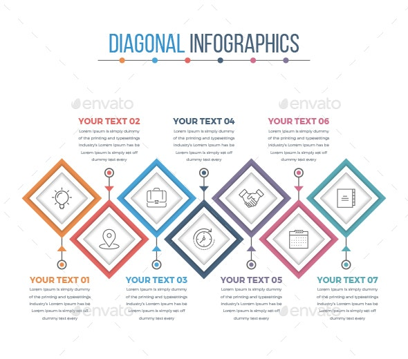 Modern Diagonal Square Infographics - Infographics