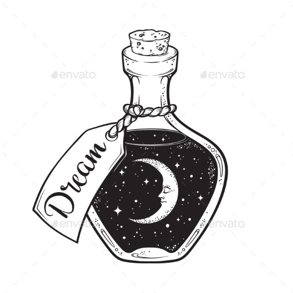 Dream in Bottle with Moon and Stars