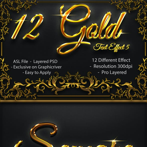 12 Gold Text Effect Vol 05