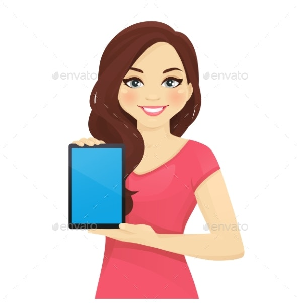 Woman Showing Tablet - People Characters
