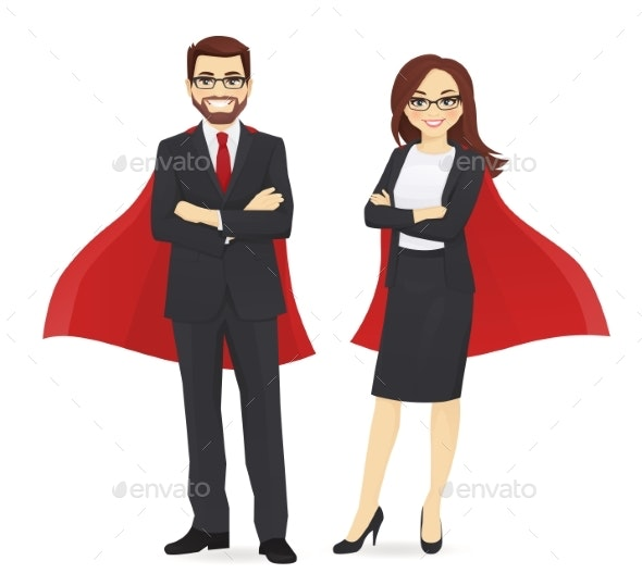 Superhero Business Man and Woman - Business Conceptual