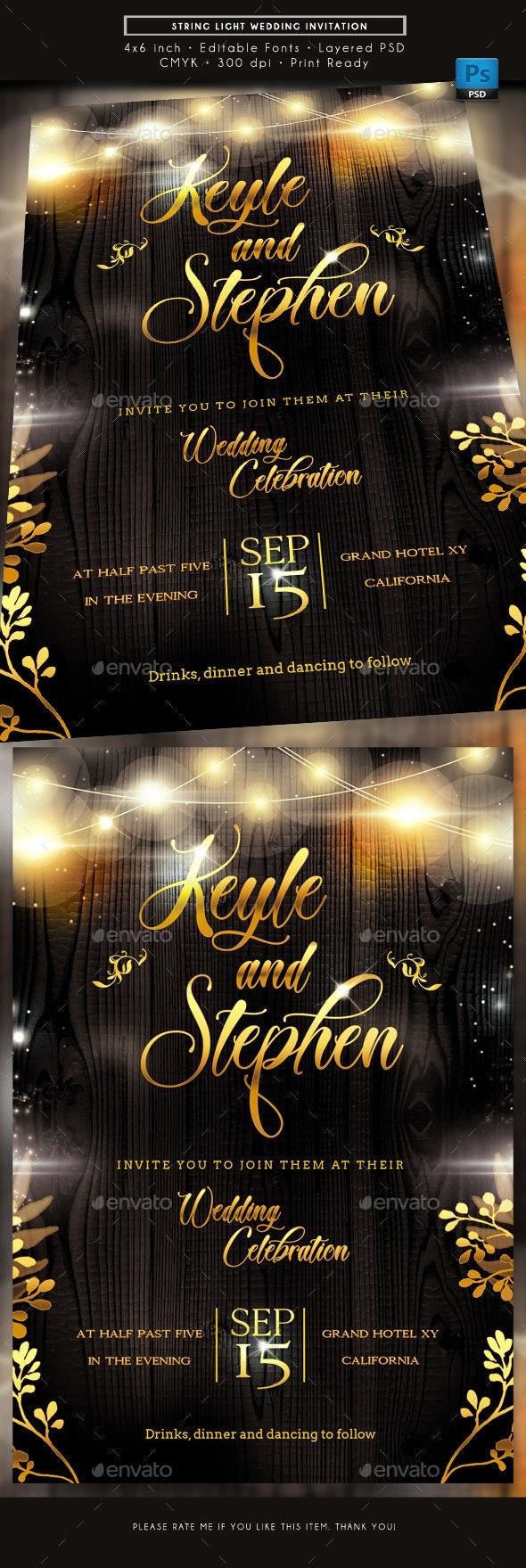 String Light Wedding Invitation - Weddings Cards & Invites