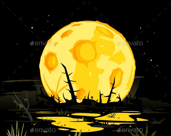 Full Moon in Night Swamp Mystical Background - Halloween Seasons/Holidays