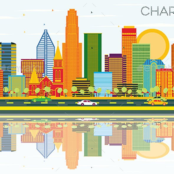 Charlotte North Carolina City Skyline with Color Buildings