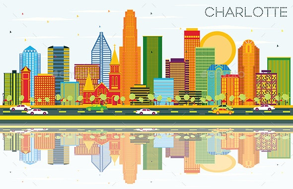 Charlotte North Carolina City Skyline with Color Buildings - Buildings Objects