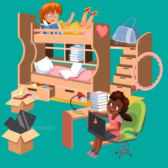 Girls Dorm Room Flat Poster. Dormitory Interior - Miscellaneous Vectors