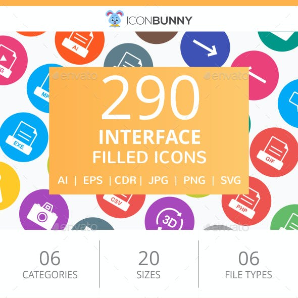 290 Interface Filled Round Icons