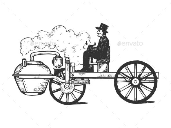 Steam Engine Car Engraving Vector Illustration - Miscellaneous Vectors