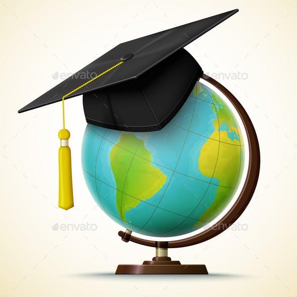 Vector Realistic Graduation Cap on a Globe