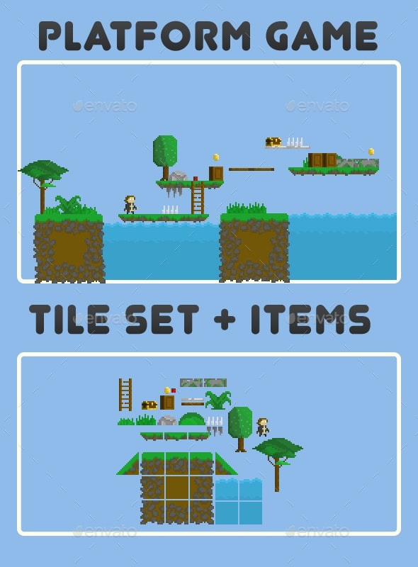 Tile Set and Items - Tilesets Game Assets