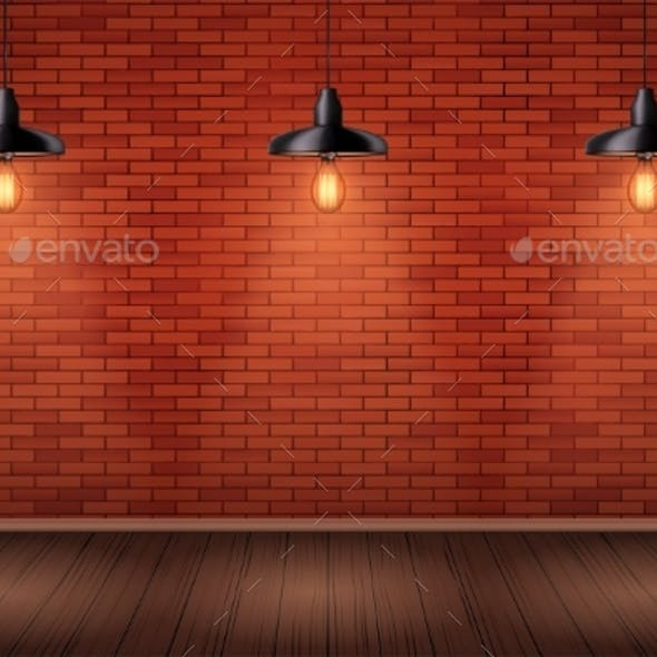Brick Wall Room with Vintage Pendant Lamps